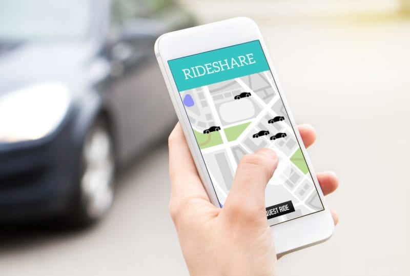 Picture of a rideshare app